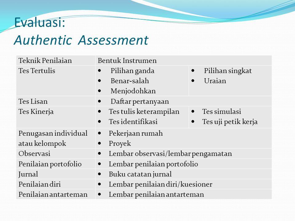 Evaluasi: Authentic Assessment Teknik PenilaianBentuk Instrumen Tes Tertulis  Pilihan ganda  Benar-salah  Menjodohkan  Pilihan singkat  Uraian Te