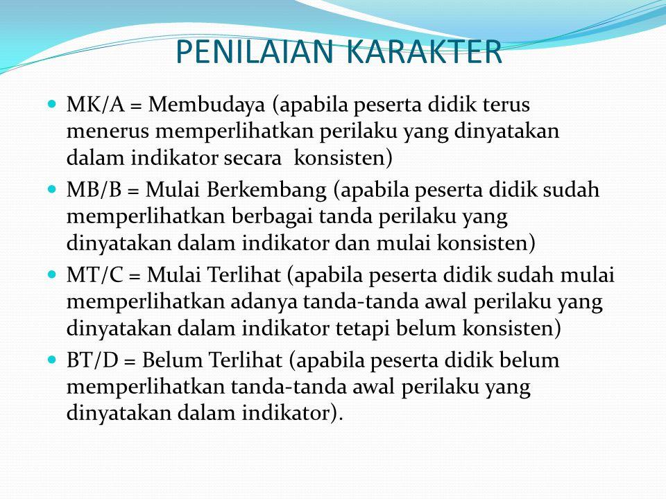 PENILAIAN KARAKTER MK/A = Membudaya (apabila peserta didik terus menerus memperlihatkan perilaku yang dinyatakan dalam indikator secara konsisten) MB/