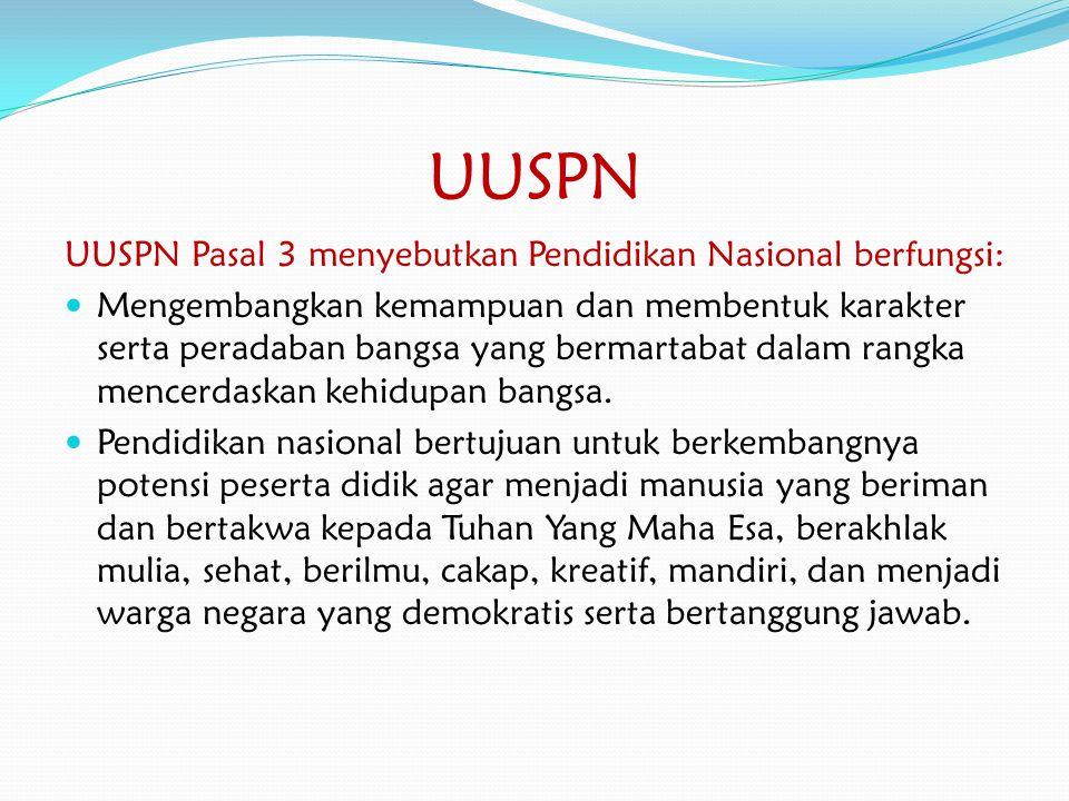 UUSPN UUSPN Pasal 3 menyebutkan Pendidikan Nasional berfungsi: Mengembangkan kemampuan dan membentuk karakter serta peradaban bangsa yang bermartabat