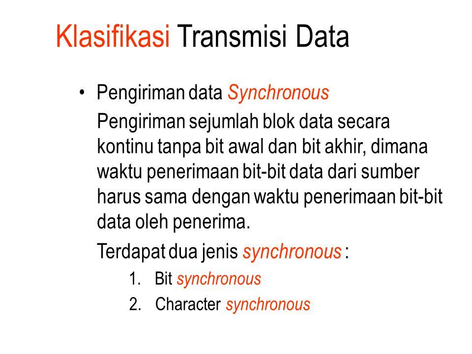 Pengiriman data Synchronous Pengiriman sejumlah blok data secara kontinu tanpa bit awal dan bit akhir, dimana waktu penerimaan bit-bit data dari sumbe