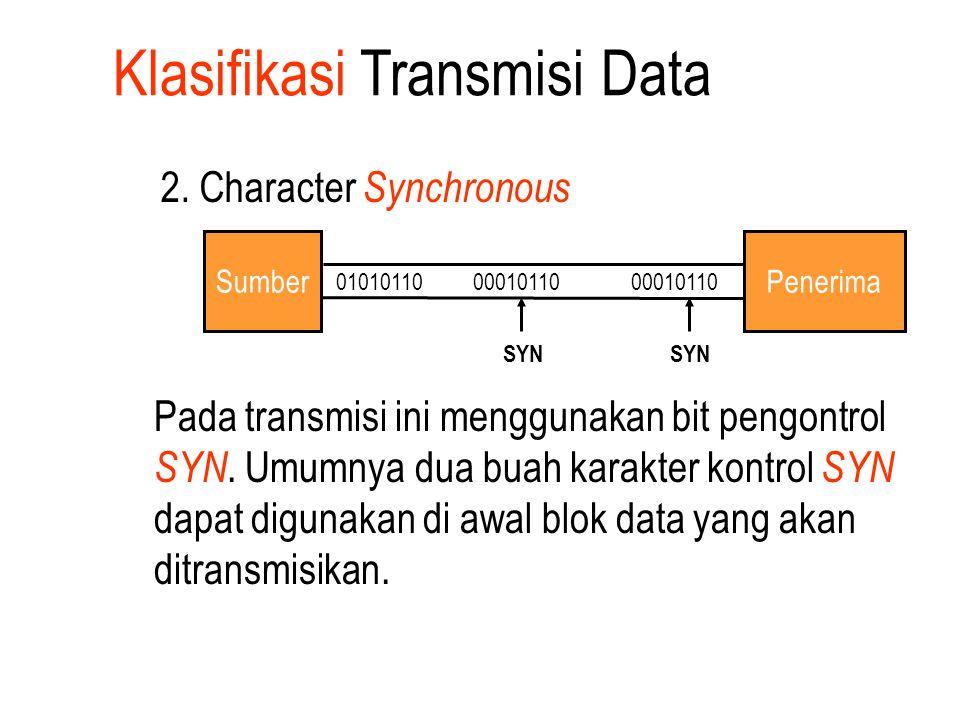 Klasifikasi Transmisi Data 2. Character Synchronous 01010110 00010110 00010110 SumberPenerima SYN Pada transmisi ini menggunakan bit pengontrol SYN. U