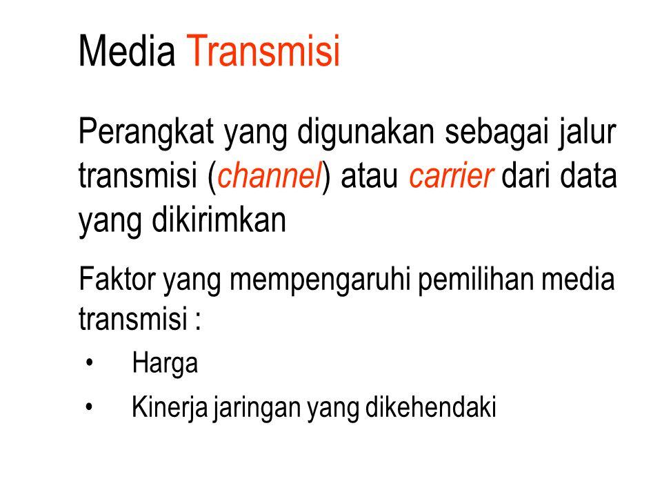Media Transmisi Faktor yang mempengaruhi pemilihan media transmisi : Harga Kinerja jaringan yang dikehendaki Perangkat yang digunakan sebagai jalur tr