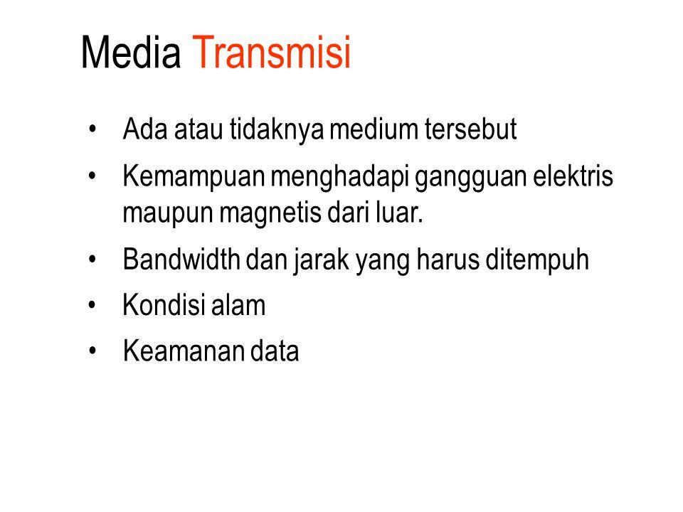 Media Transmisi Bandwidth dan jarak yang harus ditempuh Kondisi alam Keamanan data Ada atau tidaknya medium tersebut Kemampuan menghadapi gangguan ele