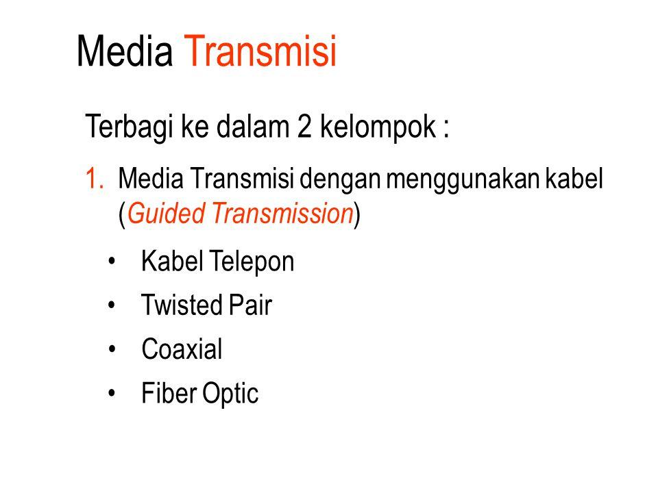 Media Transmisi Kabel Telepon Twisted Pair Coaxial Terbagi ke dalam 2 kelompok : 1. Media Transmisi dengan menggunakan kabel ( Guided Transmission ) F