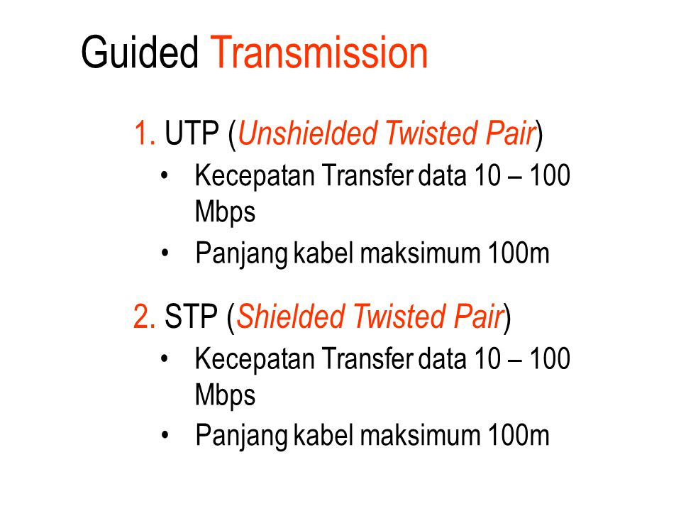 2. STP ( Shielded Twisted Pair ) Kecepatan Transfer data 10 – 100 Mbps Panjang kabel maksimum 100m 1. UTP ( Unshielded Twisted Pair ) Kecepatan Transf