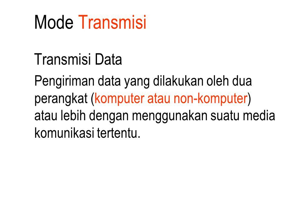 Mode Transmisi Transmisi Data Pengiriman data yang dilakukan oleh dua perangkat (komputer atau non-komputer) atau lebih dengan menggunakan suatu media
