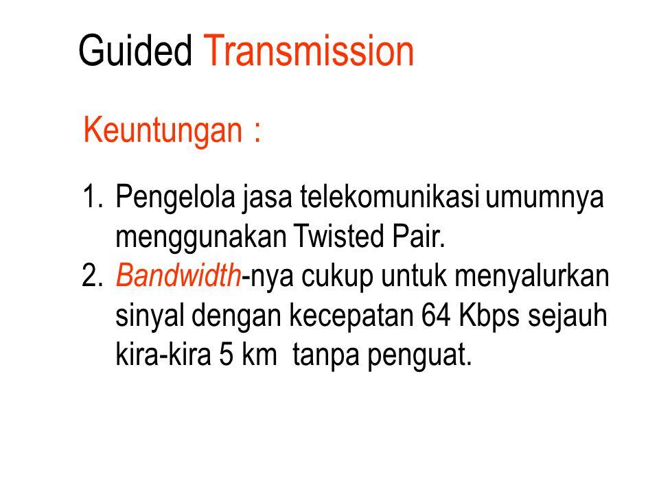 1. Pengelola jasa telekomunikasi umumnya menggunakan Twisted Pair. 2. Bandwidth -nya cukup untuk menyalurkan sinyal dengan kecepatan 64 Kbps sejauh ki