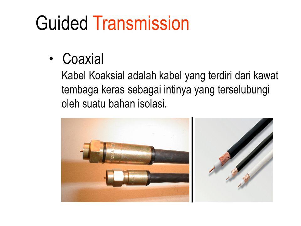 Coaxial Kabel Koaksial adalah kabel yang terdiri dari kawat tembaga keras sebagai intinya yang terselubungi oleh suatu bahan isolasi. Guided Transmiss