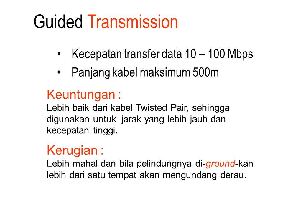 Kecepatan transfer data 10 – 100 Mbps Panjang kabel maksimum 500m Keuntungan : Lebih baik dari kabel Twisted Pair, sehingga digunakan untuk jarak yang