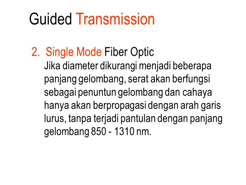 2. Single Mode Fiber Optic Jika diameter dikurangi menjadi beberapa panjang gelombang, serat akan berfungsi sebagai penuntun gelombang dan cahaya hany