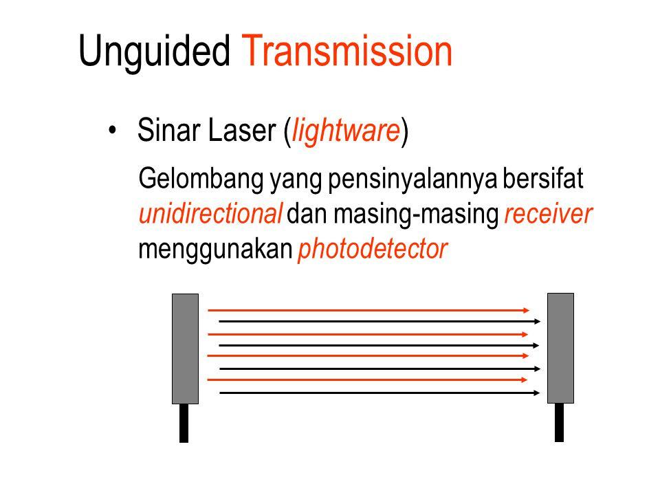 Unguided Transmission Sinar Laser ( lightware ) Gelombang yang pensinyalannya bersifat unidirectional dan masing-masing receiver menggunakan photodete
