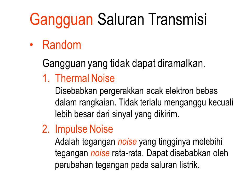 Gangguan Saluran Transmisi Random Gangguan yang tidak dapat diramalkan. 1.Thermal Noise Disebabkan pergerakkan acak elektron bebas dalam rangkaian. Ti