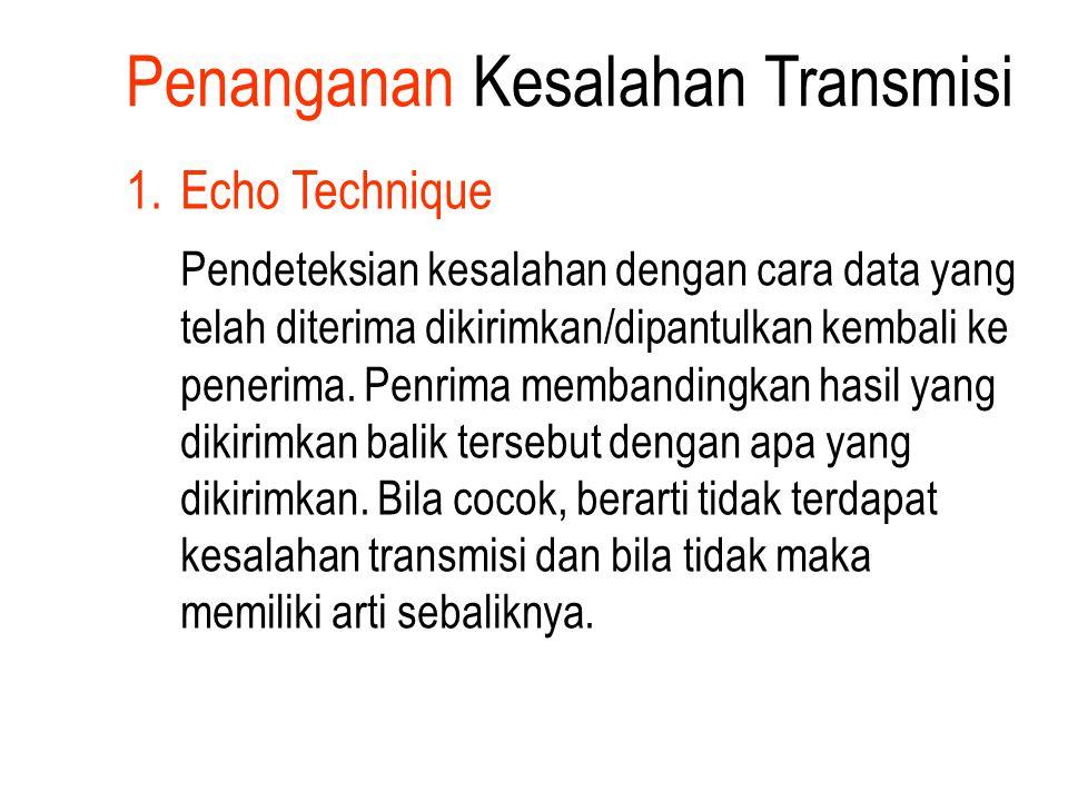 1.Echo Technique Pendeteksian kesalahan dengan cara data yang telah diterima dikirimkan/dipantulkan kembali ke penerima. Penrima membandingkan hasil y
