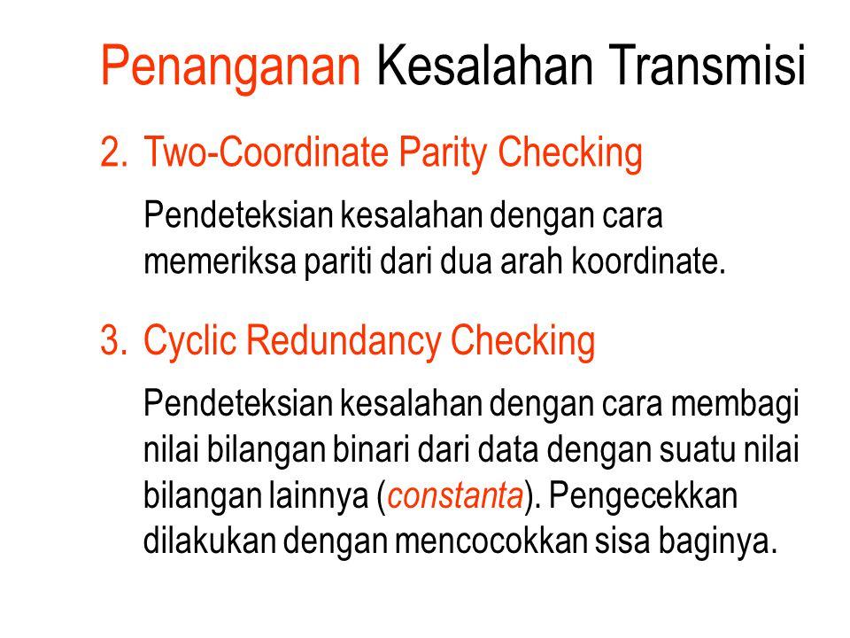 Penanganan Kesalahan Transmisi 2.Two-Coordinate Parity Checking Pendeteksian kesalahan dengan cara memeriksa pariti dari dua arah koordinate. 3.Cyclic