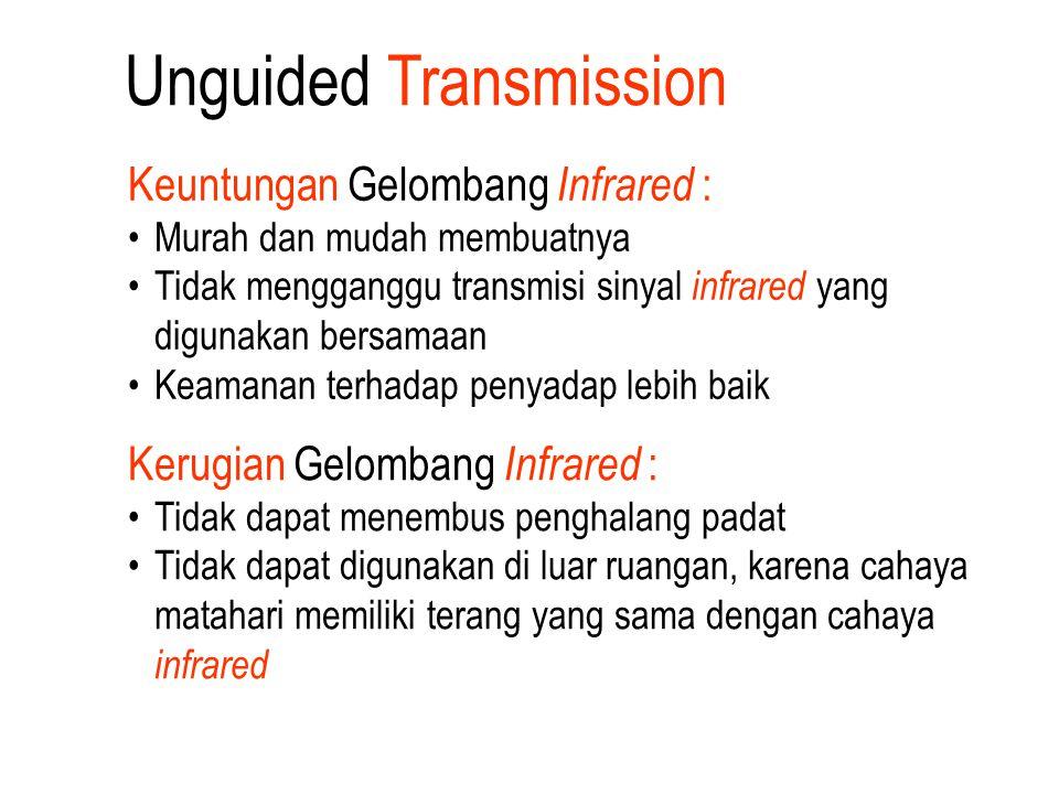 Unguided Transmission Keuntungan Gelombang Infrared : Murah dan mudah membuatnya Tidak mengganggu transmisi sinyal infrared yang digunakan bersamaan K