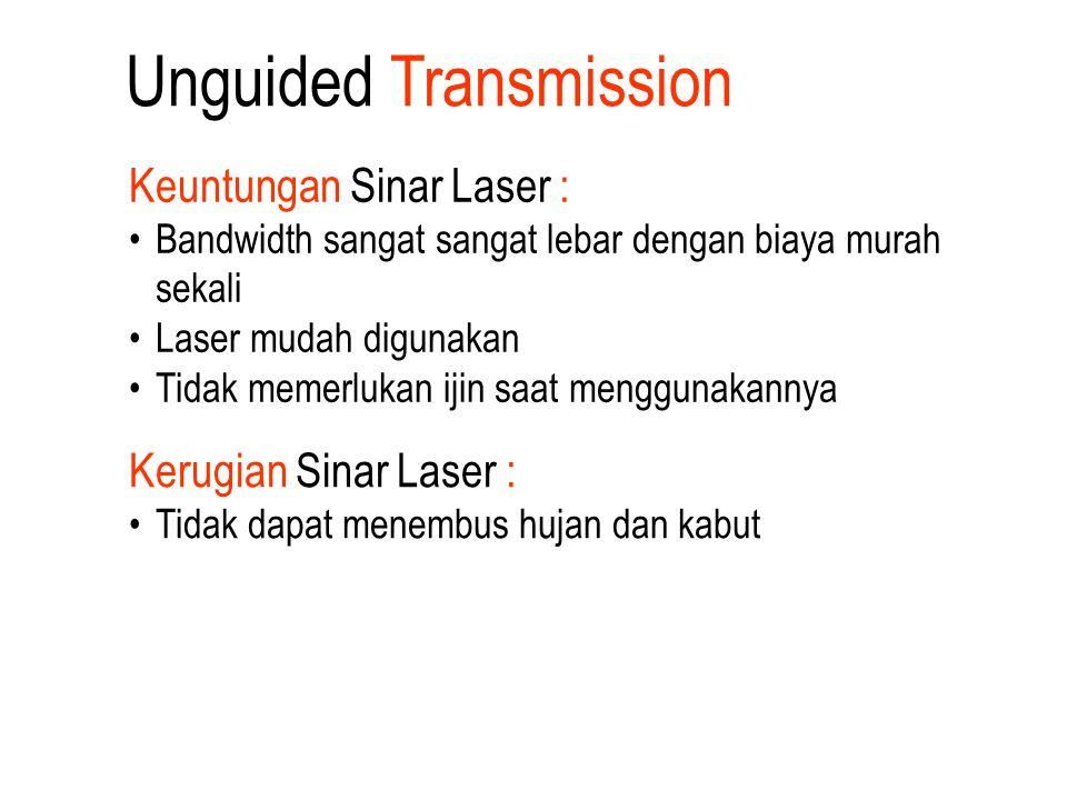 Keuntungan Sinar Laser : Bandwidth sangat sangat lebar dengan biaya murah sekali Laser mudah digunakan Tidak memerlukan ijin saat menggunakannya Kerug