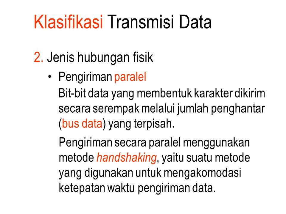 Klasifikasi Transmisi Data 2. Jenis hubungan fisik Pengiriman paralel Bit-bit data yang membentuk karakter dikirim secara serempak melalui jumlah peng