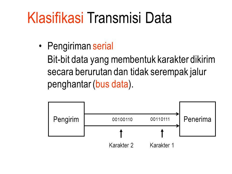 Klasifikasi Transmisi Data Pengiriman serial Bit-bit data yang membentuk karakter dikirim secara berurutan dan tidak serempak jalur penghantar (bus da