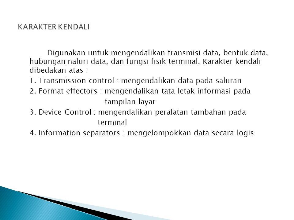 Digunakan untuk mengendalikan transmisi data, bentuk data, hubungan naluri data, dan fungsi fisik terminal. Karakter kendali dibedakan atas : 1. Trans