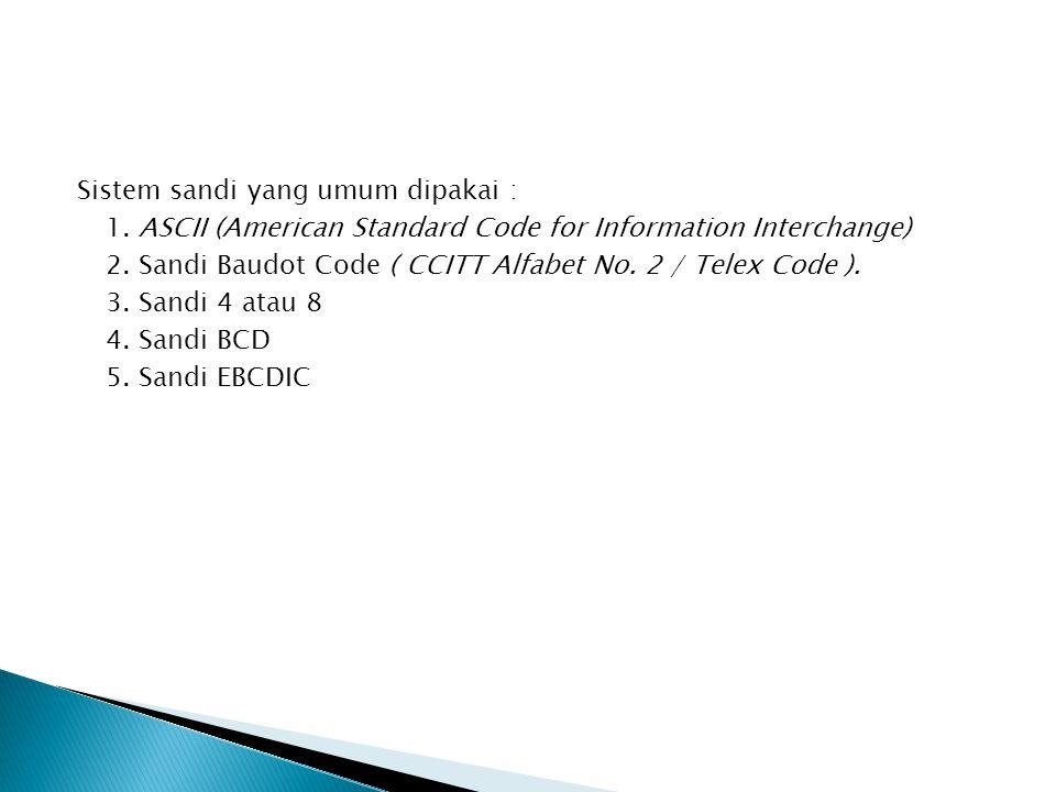 Sistem sandi yang umum dipakai : 1. ASCII (American Standard Code for Information Interchange) 2. Sandi Baudot Code ( CCITT Alfabet No. 2 / Telex Code