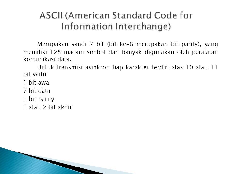 Merupakan sandi 7 bit (bit ke-8 merupakan bit parity), yang memiliki 128 macam simbol dan banyak digunakan oleh peralatan komunikasi data. Untuk trans