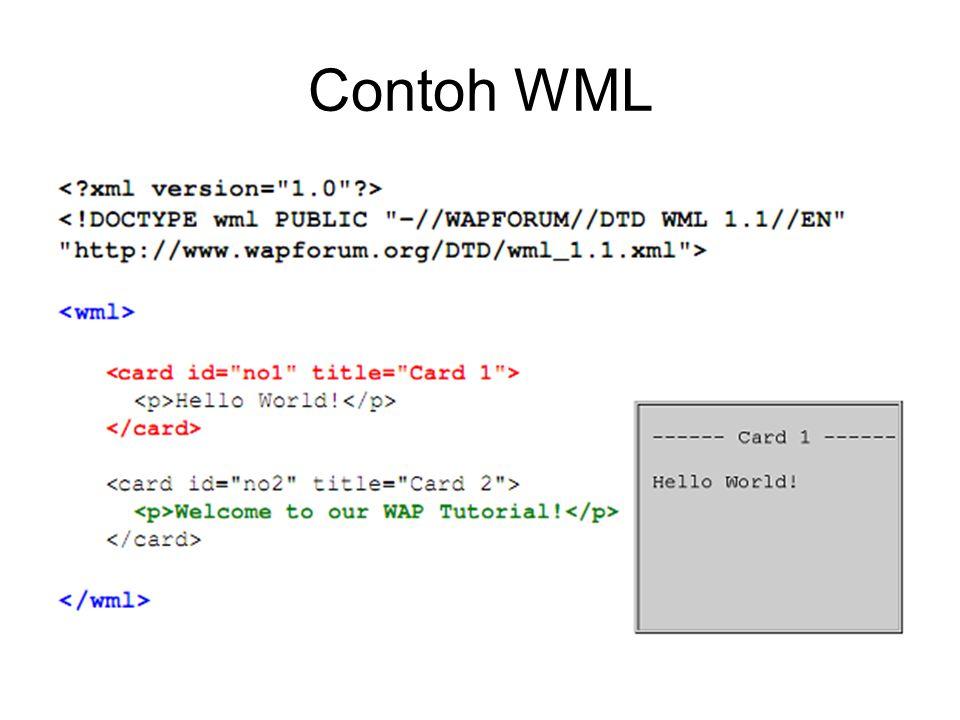 Tag Dasar mendefinisikan awal dan akhir dari deck, seperti pada mendefinisikan awal dan akhir dari card content type dari teks WML adalah text/vnd.wap.wml Kita dapat menciptakan sebuah file WML yang terbentuk dengan mengirimkan content type tersebut di atas dari server script Anda.