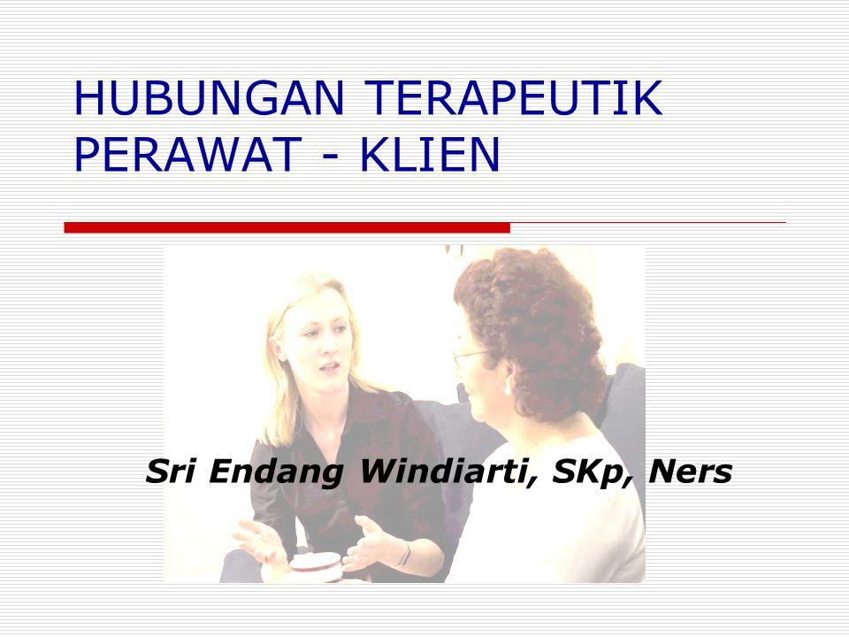 Hbngan Terapeutik Perawat Klien Sri Endang Windiarti, SKp, Ners PENGERTIAN Hubungan timbal balik yang intim melibatkan pikiran, perasaan dan sikap antara perawat dan klien
