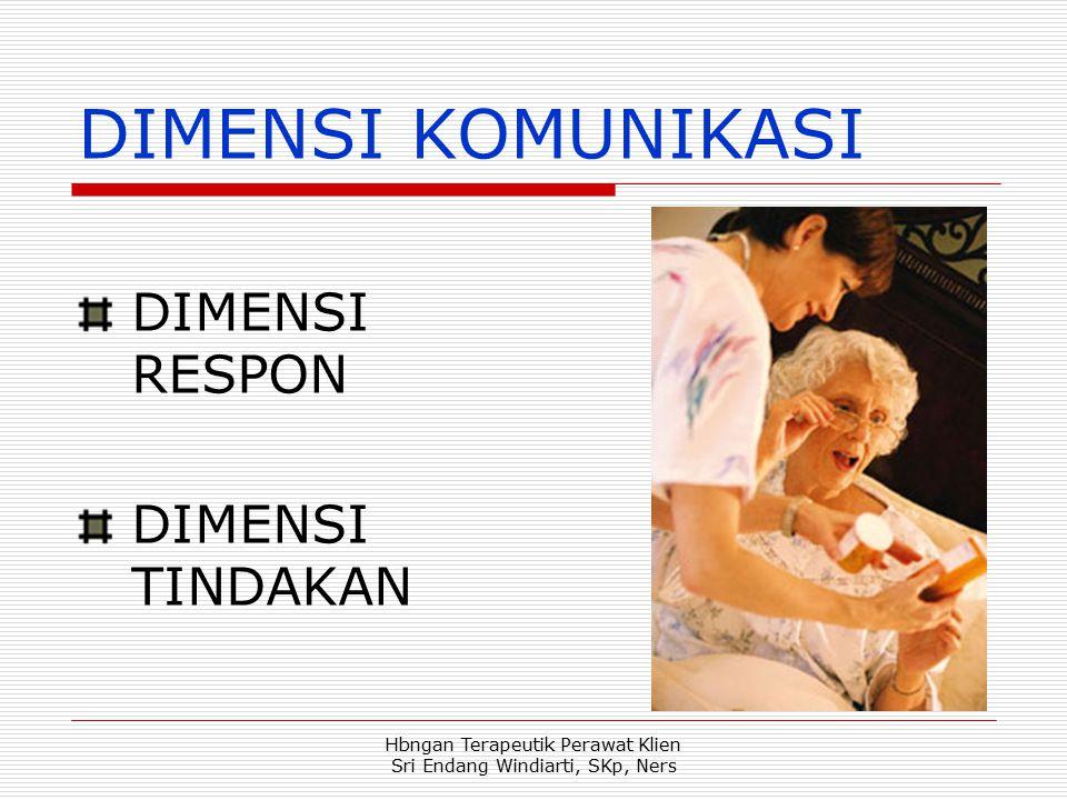 Hbngan Terapeutik Perawat Klien Sri Endang Windiarti, SKp, Ners DIMENSI KOMUNIKASI DIMENSI RESPON DIMENSI TINDAKAN