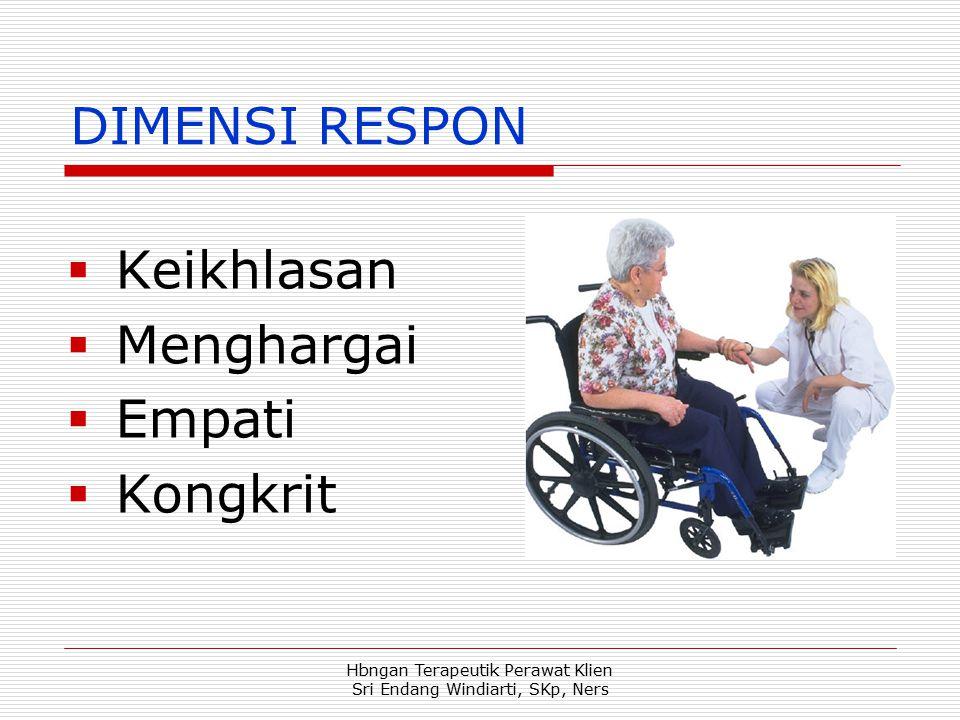 Hbngan Terapeutik Perawat Klien Sri Endang Windiarti, SKp, Ners DIMENSI RESPON  Keikhlasan  Menghargai  Empati  Kongkrit