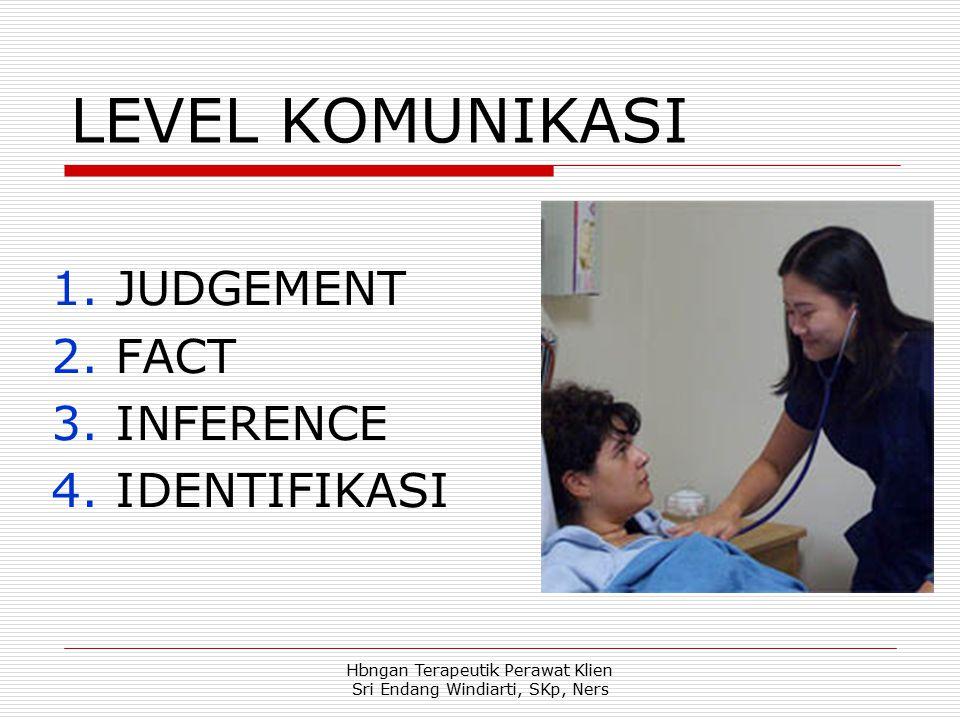Hbngan Terapeutik Perawat Klien Sri Endang Windiarti, SKp, Ners LEVEL KOMUNIKASI 1.JUDGEMENT 2.FACT 3.INFERENCE 4.IDENTIFIKASI
