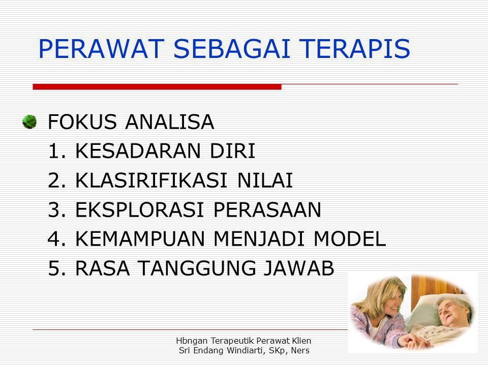 Hbngan Terapeutik Perawat Klien Sri Endang Windiarti, SKp, Ners PERAWAT SEBAGAI TERAPIS FOKUS ANALISA 1.