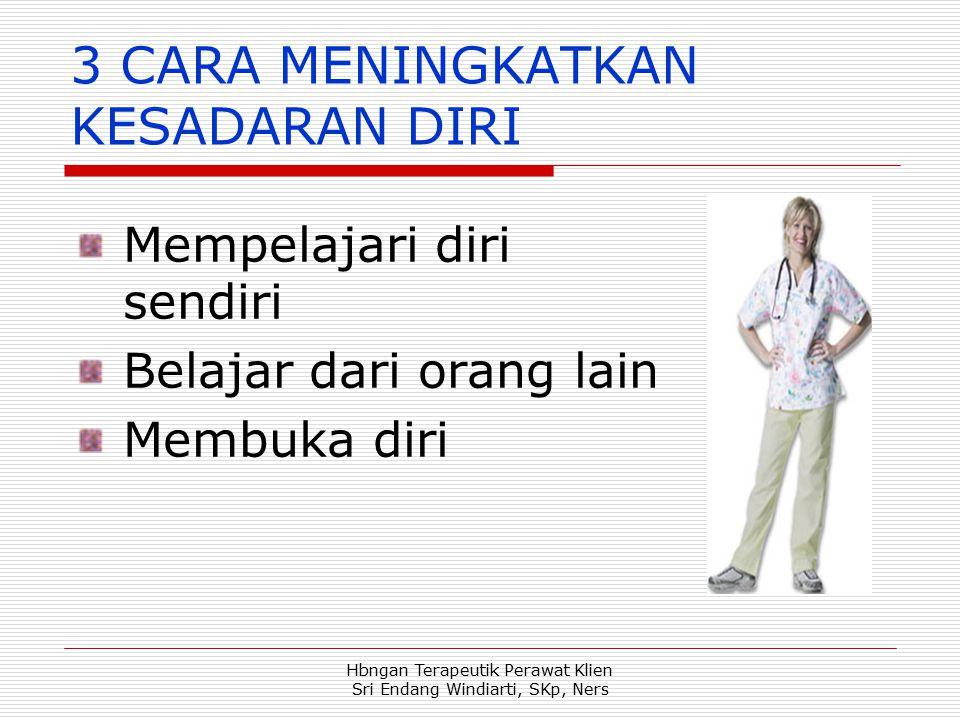 Hbngan Terapeutik Perawat Klien Sri Endang Windiarti, SKp, Ners 3 CARA MENINGKATKAN KESADARAN DIRI Mempelajari diri sendiri Belajar dari orang lain Me