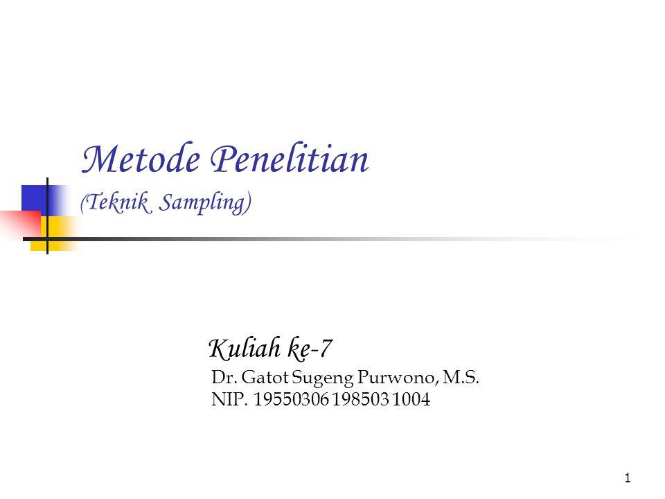1 Metode Penelitian ( Teknik Sampling) Kuliah ke-7 Dr.
