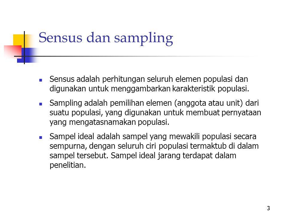 2 Populasi dan Sampel Sampel adalah sebagian populasi yang digunakan sebagai dasar penarikan kesimpulan penelitian.
