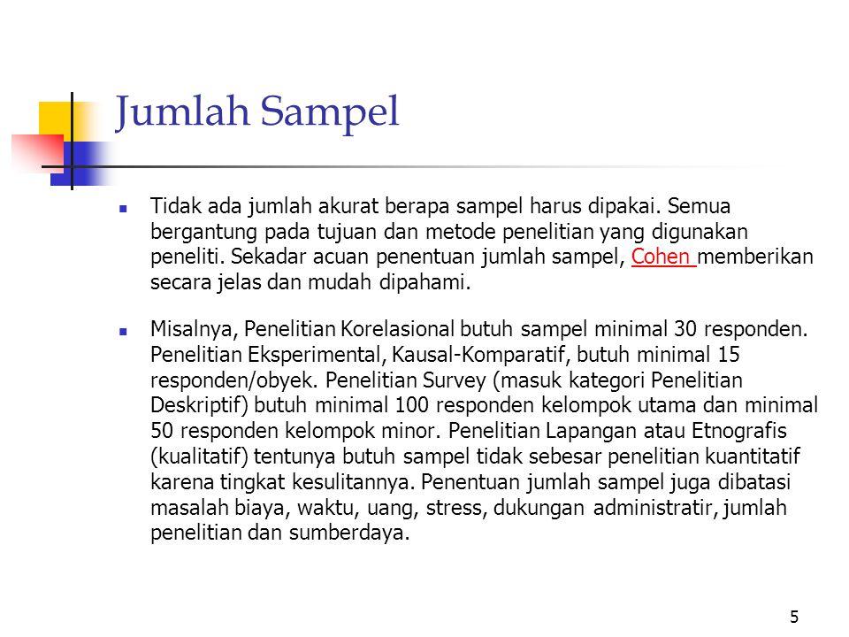 Jumlah Sampel Tidak ada jumlah akurat berapa sampel harus dipakai.