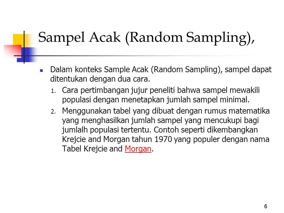 Sampel Acak (Random Sampling), Dalam konteks Sample Acak (Random Sampling), sampel dapat ditentukan dengan dua cara.