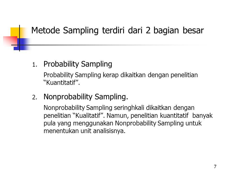 a.Convenience Sampling. Convenience Sampling disebut juga Haphazard atau Accidental Sampling.