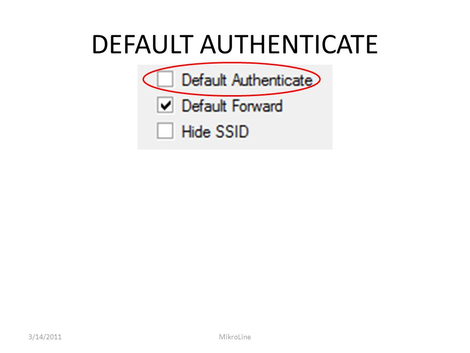 DEFAULT AUTHENTICATE 3/14/2011MikroLine