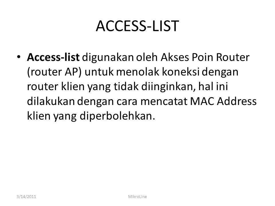 ACCESS-LIST Access-list digunakan oleh Akses Poin Router (router AP) untuk menolak koneksi dengan router klien yang tidak diinginkan, hal ini dilakuka