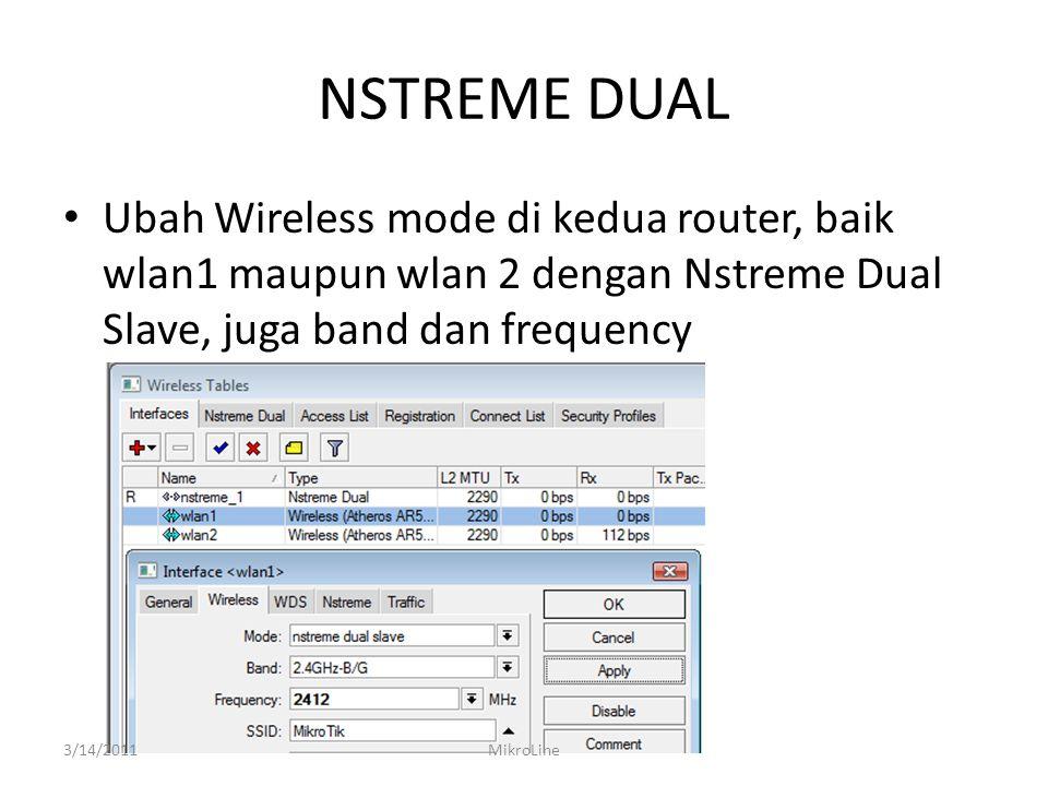 NSTREME DUAL Ubah Wireless mode di kedua router, baik wlan1 maupun wlan 2 dengan Nstreme Dual Slave, juga band dan frequency 3/14/2011MikroLine