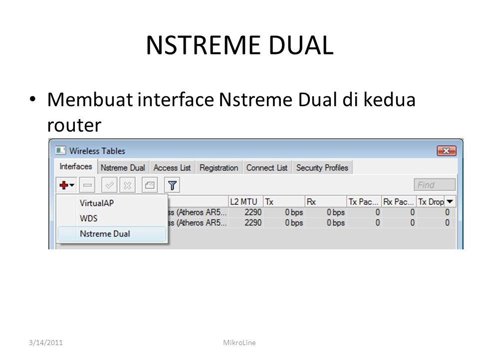 NSTREME DUAL Membuat interface Nstreme Dual di kedua router 3/14/2011MikroLine