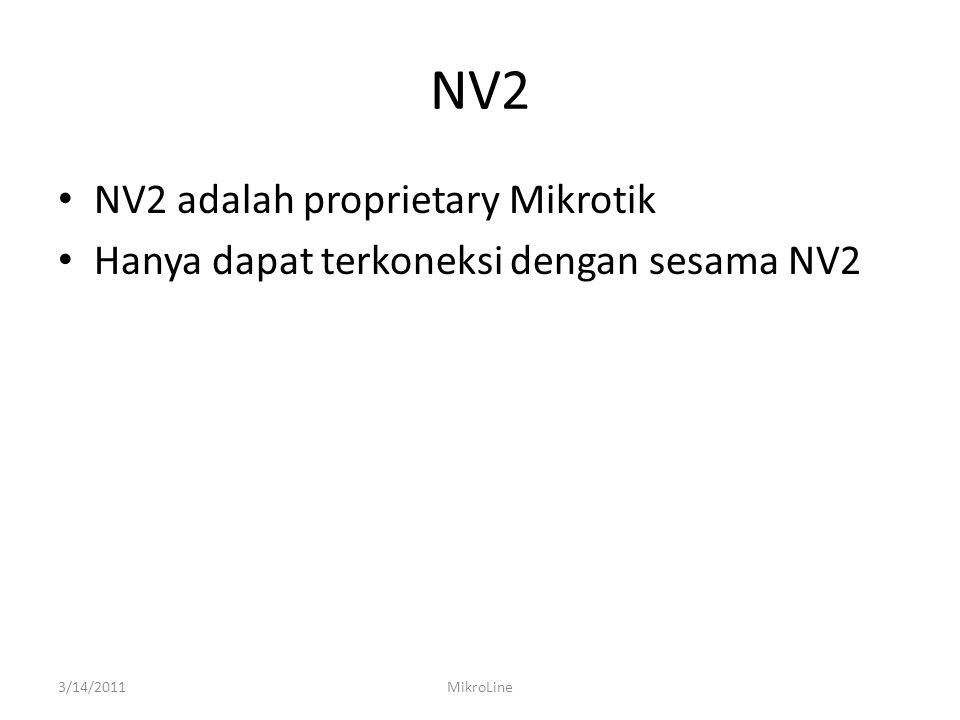 NV2 NV2 adalah proprietary Mikrotik Hanya dapat terkoneksi dengan sesama NV2 3/14/2011MikroLine