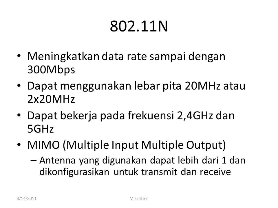 802.11N Meningkatkan data rate sampai dengan 300Mbps Dapat menggunakan lebar pita 20MHz atau 2x20MHz Dapat bekerja pada frekuensi 2,4GHz dan 5GHz MIMO
