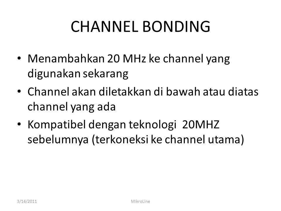 CHANNEL BONDING Menambahkan 20 MHz ke channel yang digunakan sekarang Channel akan diletakkan di bawah atau diatas channel yang ada Kompatibel dengan