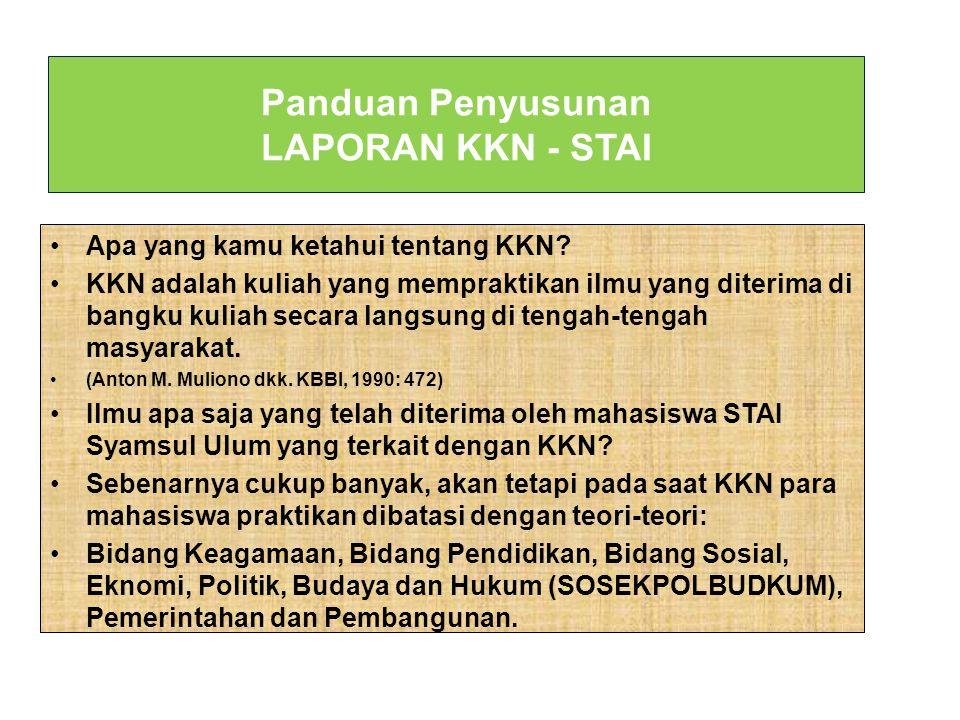 Panduan Penyusunan LAPORAN KKN - STAI Apa yang kamu ketahui tentang KKN.
