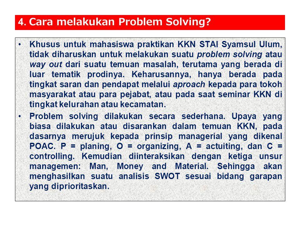 4.Cara melakukan Problem Solving.