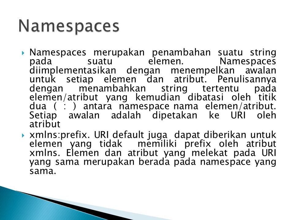  Namespaces merupakan penambahan suatu string pada suatu elemen. Namespaces diimplementasikan dengan menempelkan awalan untuk setiap elemen dan atrib