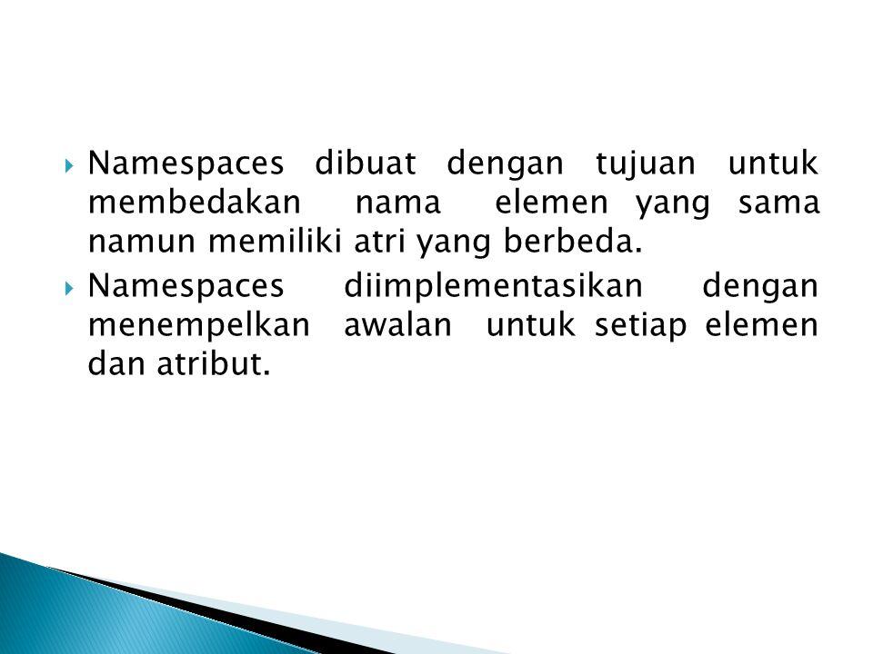 Namespaces dibuat dengan tujuan untuk membedakan nama elemen yang sama namun memiliki atri yang berbeda.  Namespaces diimplementasikan dengan menem
