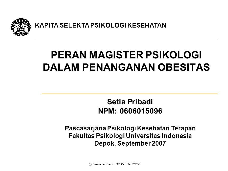 © Setia Pribadi- S2 Psi UI-2007 FASTING  Puasa salah satu teknik untuk menurunkan berat badan.