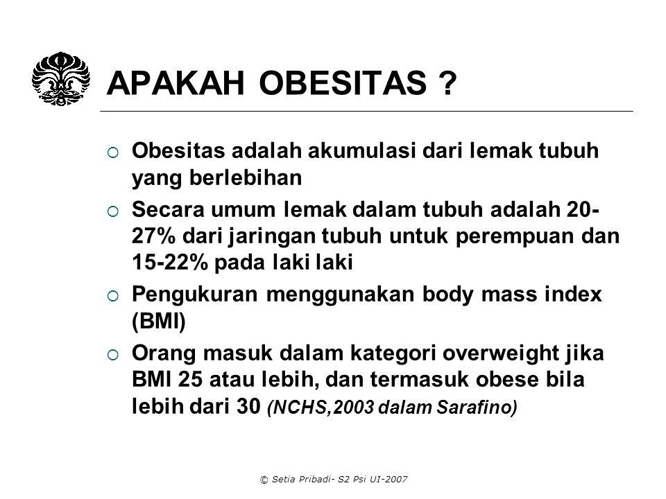 © Setia Pribadi- S2 Psi UI-2007 PEMBEDAHAN  Pembedahan, khususnya gastric surgery merupakan cara untuk menurunkan berat badan yang radikal untuk obesiti yang berat.